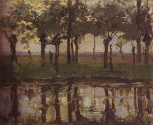 Mondrian A291 Row of Young Willows Reflected in the Water, c.1905