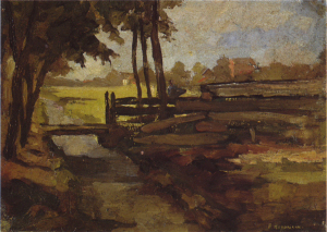 Mondrian A37 Irrigation Ditch with Bridge, Sketch, c.1894-95
