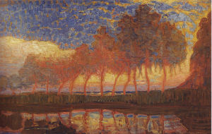 Mondrian A658 Row of Eleven Polars in Red, Yellow, Blue and Green, 1908