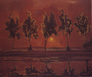 Mondrian A660 Five Tree Silhouettes along the Gein with Moon, 1907-08