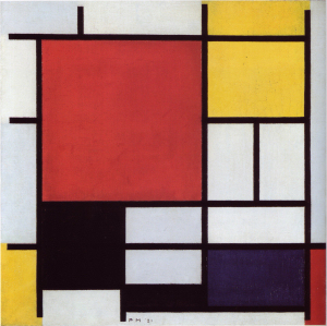 Mondrian B130 Composition with Large Red Plane, Yellow, Black, Grey and Blue, 1921