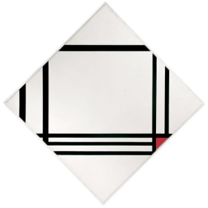 Mondrian B282 Lozenge Composition with Eight Lines and Red