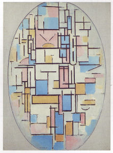 Mondrian B53 Composition in Oval with Colour Planes 1, 1914