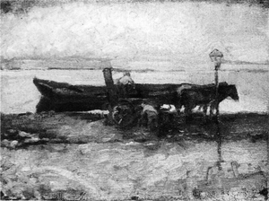 Mondrian A201 Moored Barge with Horses, 1898-1900