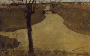 Mondrian A212 Irrigation Ditch with Young Pollarded Willow, oil sketch II, 1900
