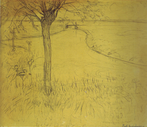 Mondrian A215 Irrigation Ditch with Young Pollarded Willow, drawing III, 1900