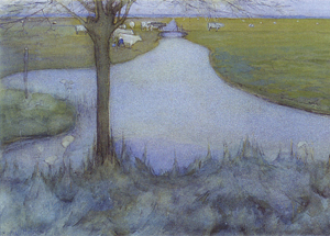 Mondrian A216 Irrigation Ditch with Young Pollarded Willow, watercolour, 1900