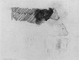 Mondrian A222 Sketches of Standing Cows Facing Right, c.1900-01