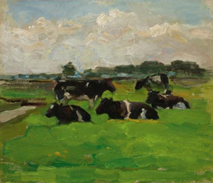 Mondrian A225 Polder Landscape with Group of Five Cows, 1901-02