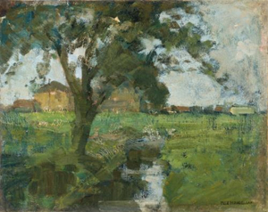 Mondrian A231 Farm Setting with Foreground Tree and Irrigation Ditch, 1900-02