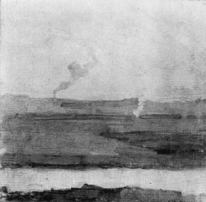 Mondrian A235 Polder Landscape, Smoke Rising in Background, 1900-01