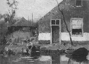 Mondrian A252 Truncated View of a Gabled House Façade on a Canal, c.1900-02