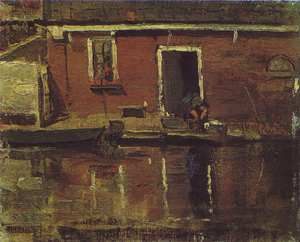 Mondrian A254 House Façade on the Water with Woman Washing, c.1900-02