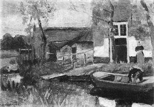Mondrian A255 Farm Buildings near a Canal with Small Boat, 1900-01