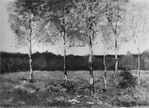 Mondrian A288 Six Young Birch Trees in a Field, c.1902-03