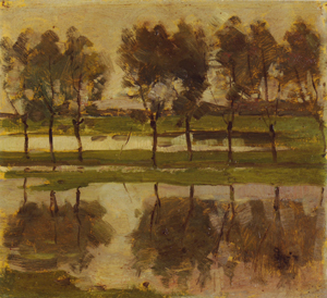 Mondrian A290 Row of Eight Young Willows Reflected in the Water, c.1905