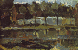 Mondrian A296 Narrow Farm Buildings and Trees along the Water, c.1905