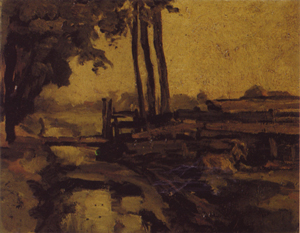 Mondrian A38 Irrigation Ditch, Bridge and Goat, Sketch, c.1894-95