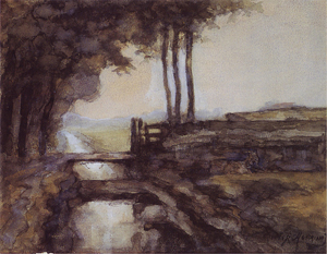 Mondrian A39 Irrigation Ditch, Bridge and Goat, c.1894-95