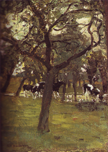 Mondrian A46 Trees and Cows along a Stream, c.1895-97