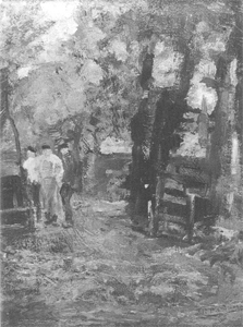 Mondrian A49 Three Farm Workers near a Gateway, c.1896-97