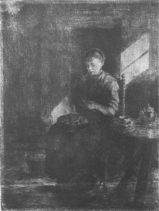Mondrian A53 Young Woman Peeling Potatoes, Etching, c.1897