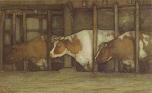 Mondrian A55 Three Cows in a Pot Stall, c.1898-99