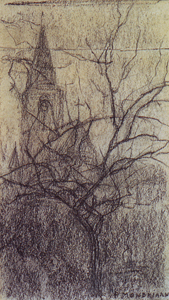 Mondrian A58 St. Jacob's Church with Small Tree, Winter, c.1897-98