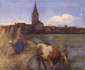 Mondrian A62 Farm Scene with the St. Jacob's Church, c.1899
