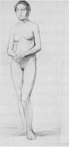 Mondrian A643 Standing Female Nude, c.1908