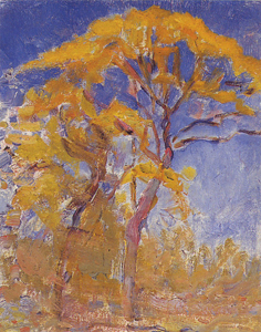 Mondrian A662 Two Trees with Orange Foliage against Blue Sky, c.1908
