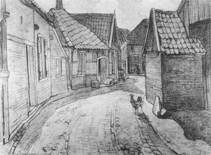 Mondrian A66 The Lappenbrink, View toward the Nieuw-straat, Drawing, c.1899