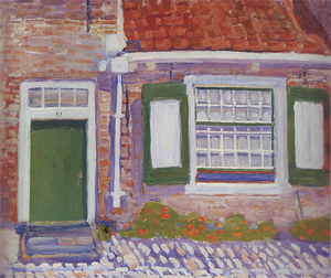 Mondrian A678 House Façade with Green Trimmed Shutters, 1909