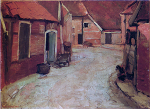 Mondrian A67 The Lappenbrink, View toward the Nieuw-straat, Oil Sketch, c.1899