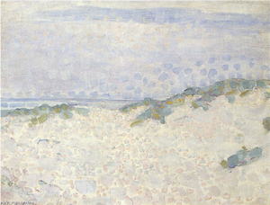 Mondrian A706 Pointillist Study with Dunes and Sea, 1909
