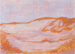 Mondrian A707 Dune Sketch in Orange, Pink and Blue, 1909