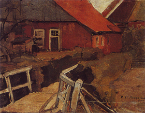 Mondrian A75 Farm Buildings with Bridge, c.1899