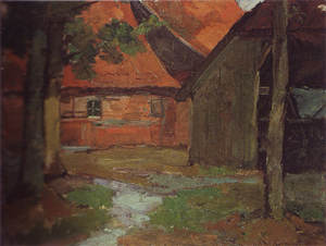 Mondrian A77 Farmyard with Carriage Barn in the Achterhoek, c.1899