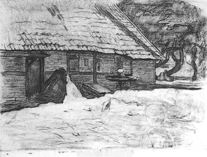 Mondrian A79 Side View of a Farm Building near Winterswijk, Drawing, c.1898-99