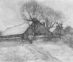 Mondrian A80 Winter Landscape with Three Farm Buildings, c.1899
