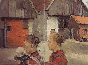 Mondrian A81 Rear Gables of Farm Buildings with Figures, 1898-99
