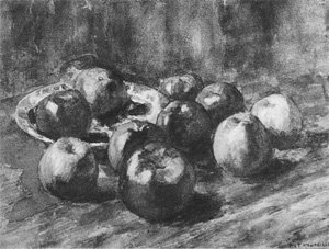 Mondrian A94 Apples on a Table, Two on a Plate, c.1898-99
